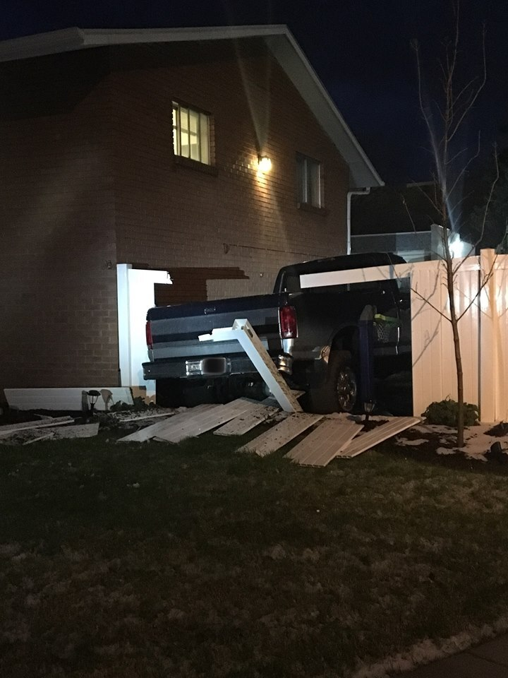 Photos: 20-year-old slams through fence, damages property while three times over DUI limit, Roy policesay