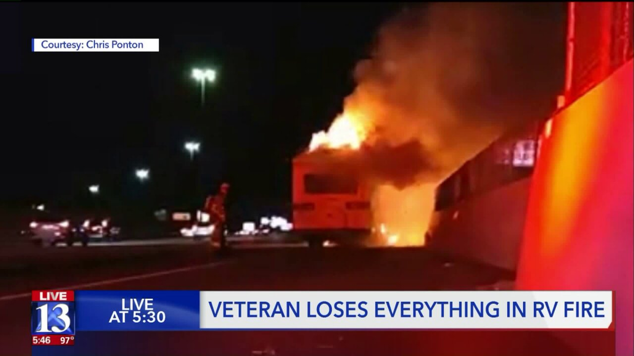 Veteran who suffers from PTSD 'lost everything' when his RV caught fire onI-15