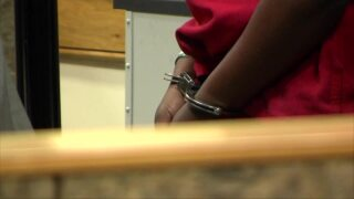 An'Tajah Richards in handcuffs during first appearance in court