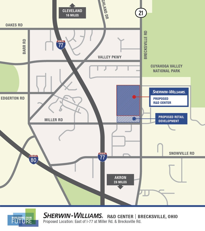 Map of Sherwin-Williams R&D Center in Brecksville.