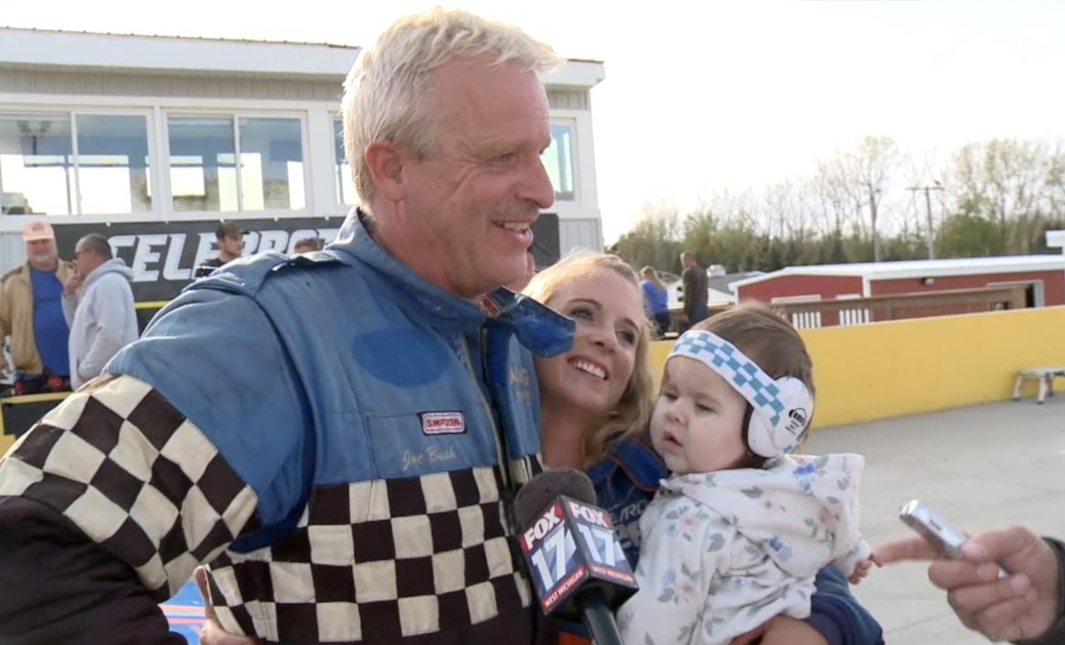 Joe Bush celebrates his victory with his daughter, Lauren