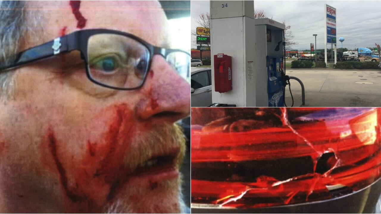 Possible hate crime leaves man bloodied at gaspump