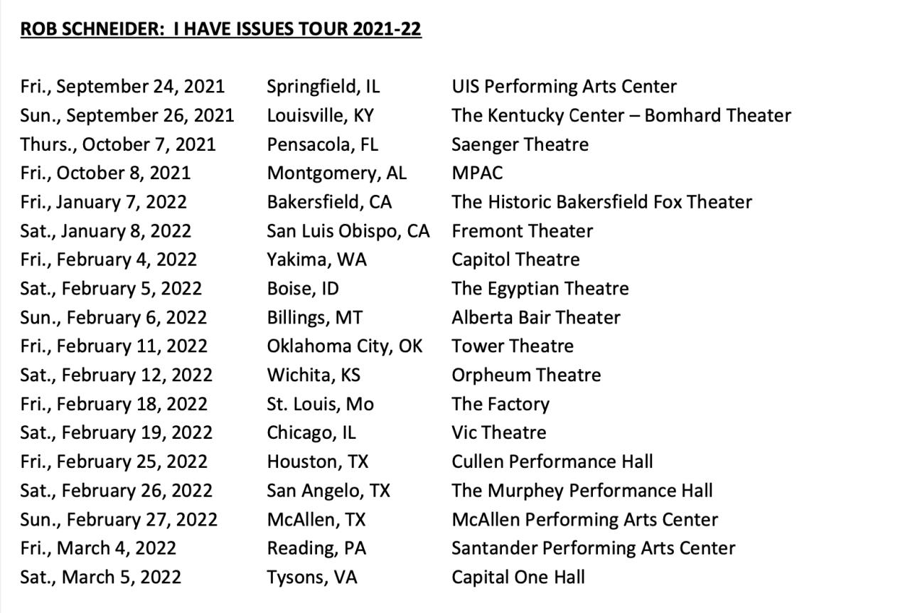 Rob Schneider tour dates