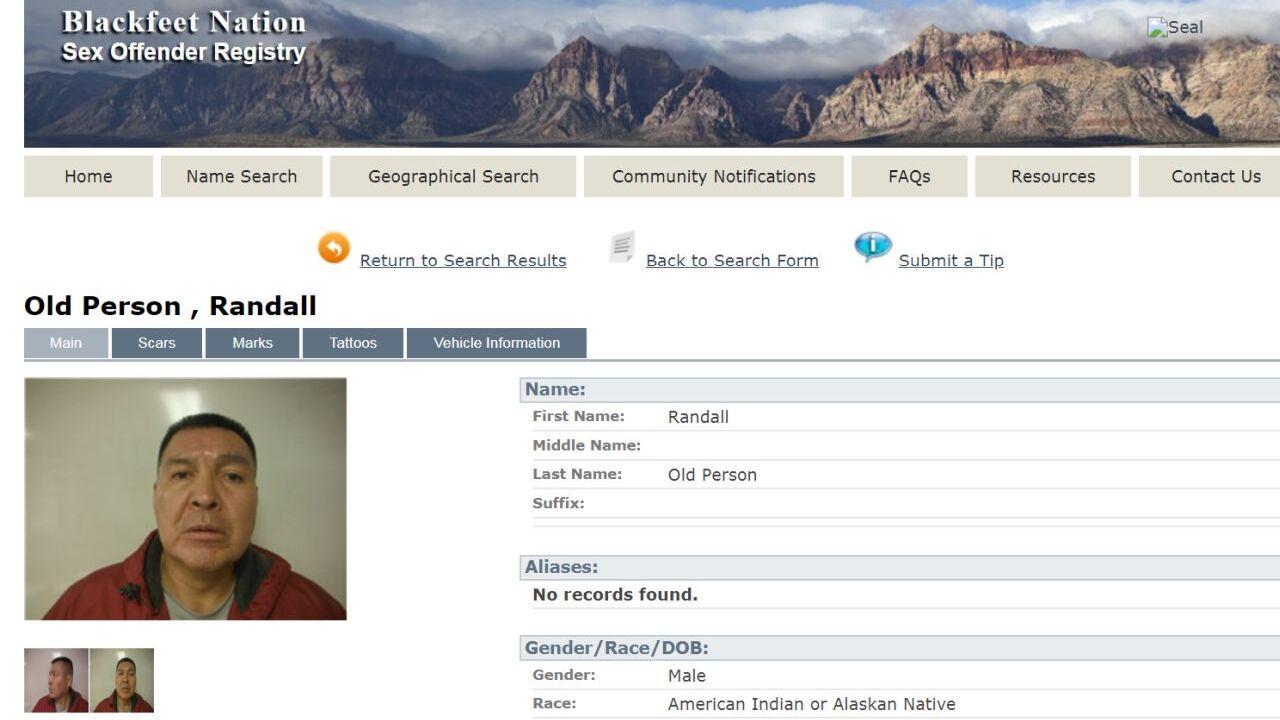Blackfeet Nation Sex Offender Registry
