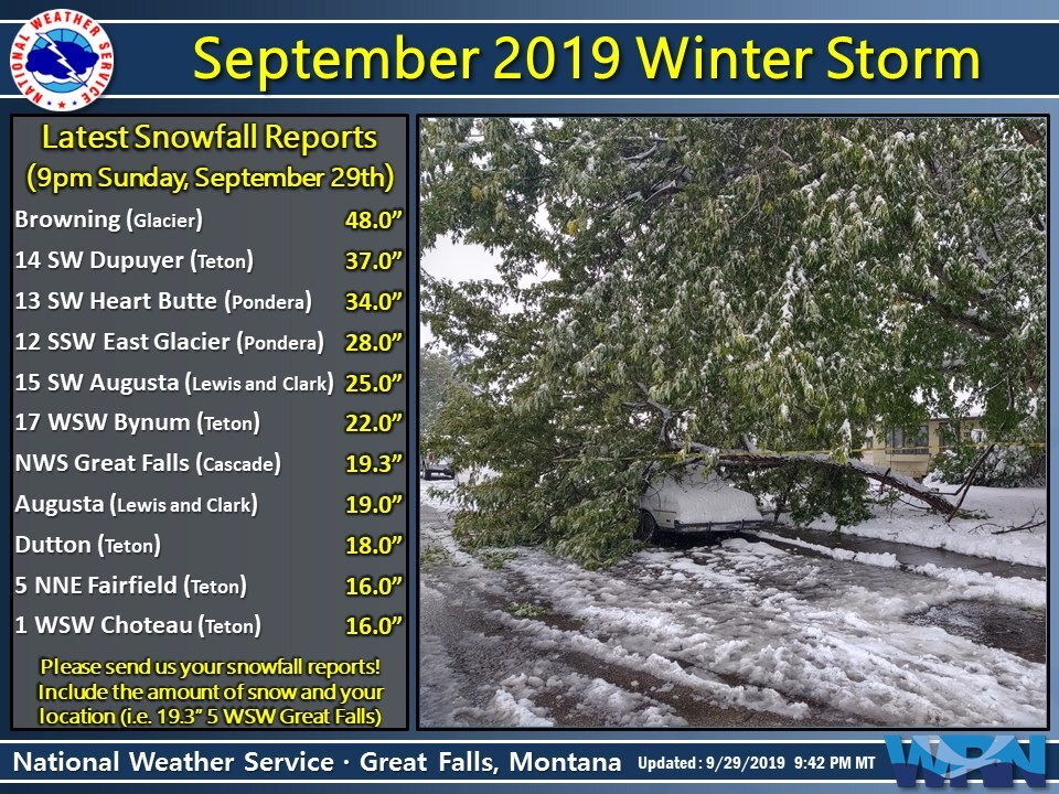 Record-setting September snow in Montana