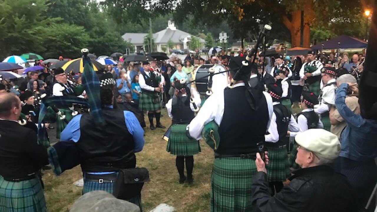 Pipe band pays tribute to fallen member and other victims of Virginia Beachshooting