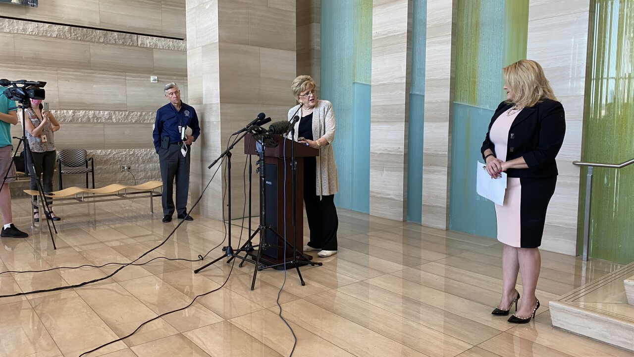 Las Vegas Councilwoman Michele Fiore gives a news conference in the lobby of city hall on June 16, 2020