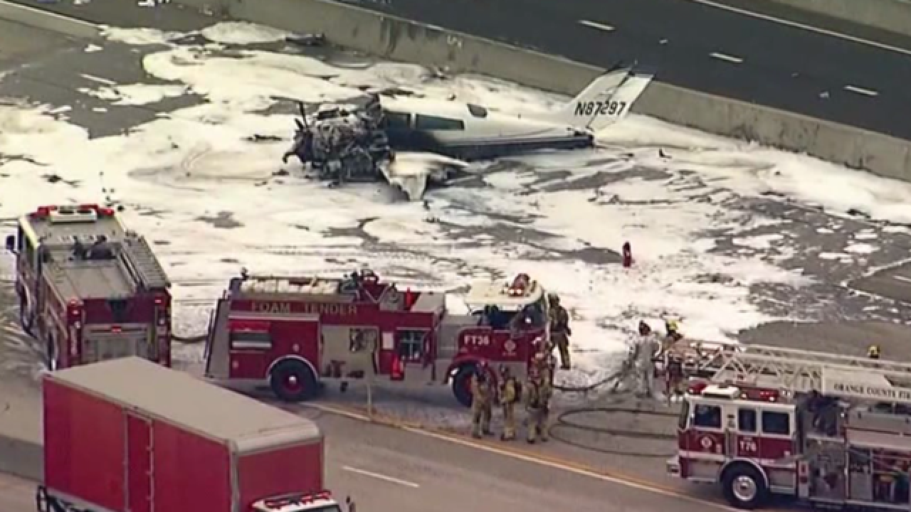 Small plane crashes onto crowded California highway