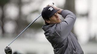 Tom Brady plays golf at Pebble Beach in 2010
