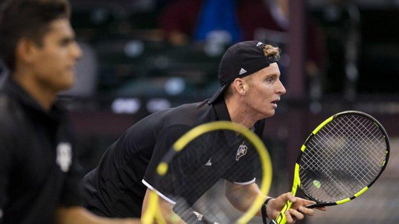 Aggie men's tennis sweeps Saturday doubleheader