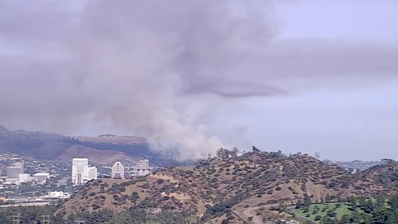 Brush fire in the Eagle Rock section of Los Angeles
