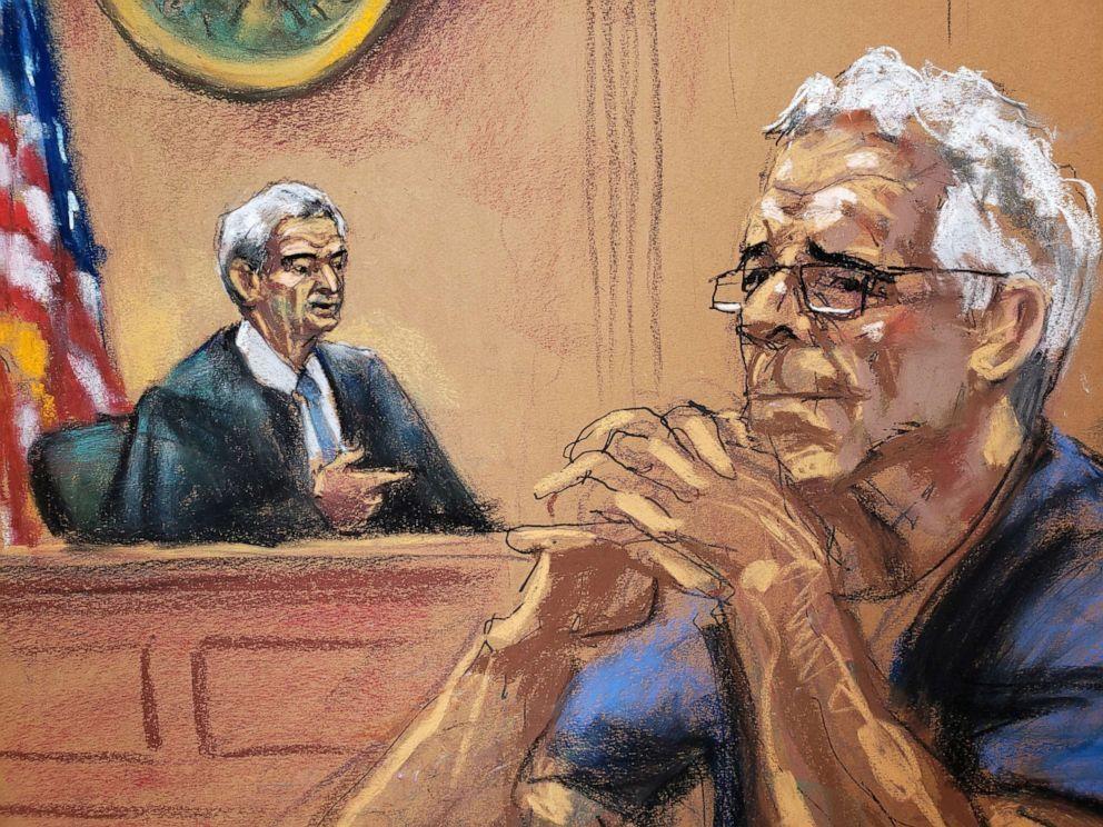 Financier Jeffrey Epstein looks on near Judge Richard Berman during a status hearing in his sex trafficking case, in this court sketch in New York, July 31, 2019 (Jane Rosenburg/Reuters).
