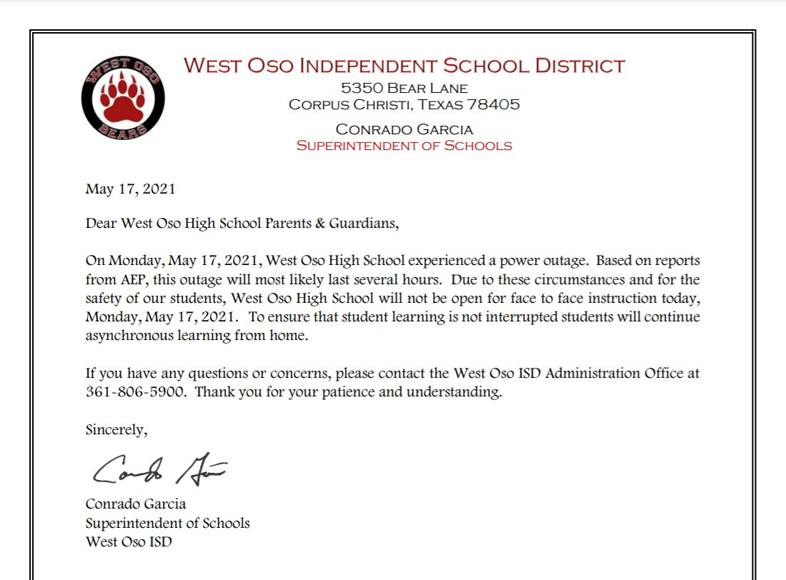 west-oso-high-school-power-outage