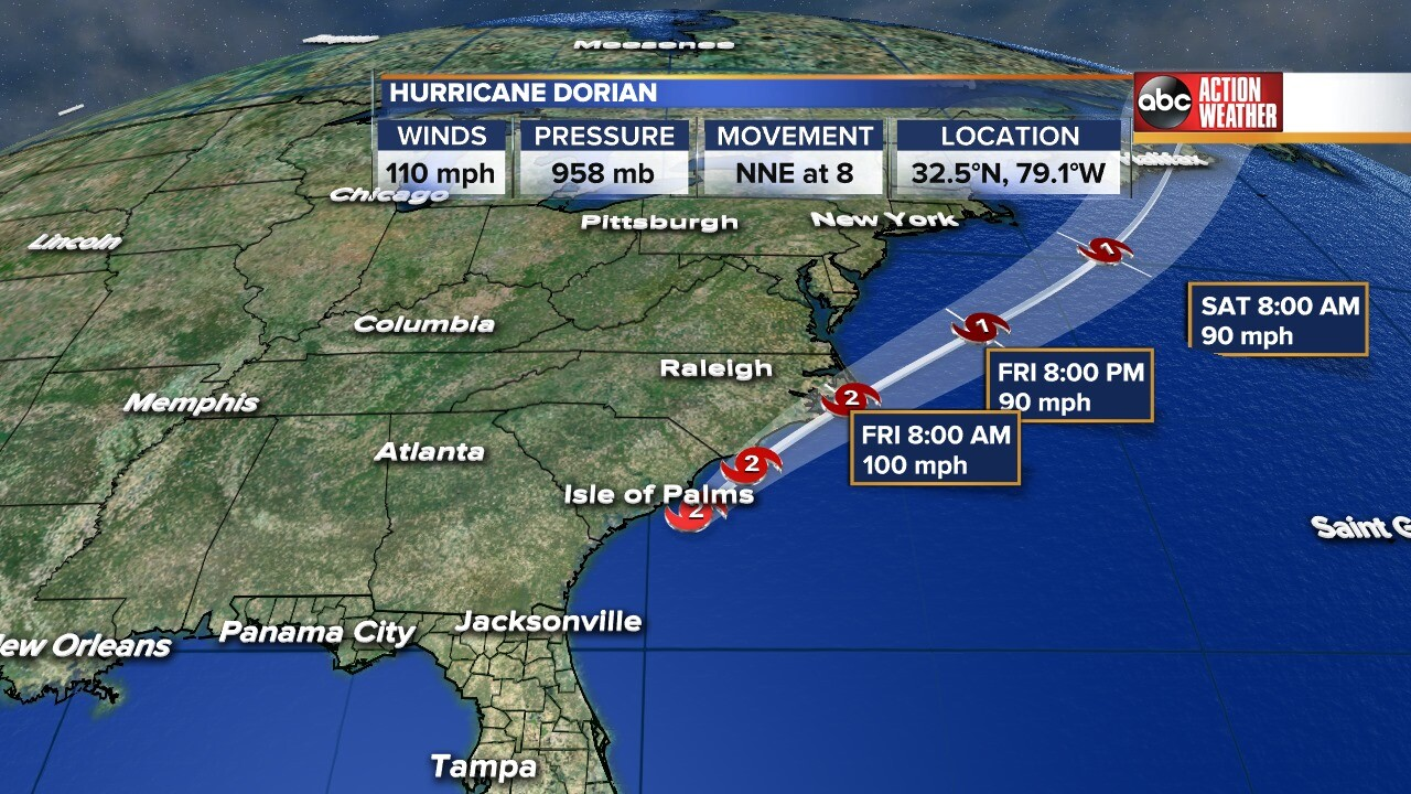 Hurricane Dorian leaves Florida\'s east coast, heads north