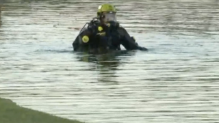 Stolen vehicle in pond
