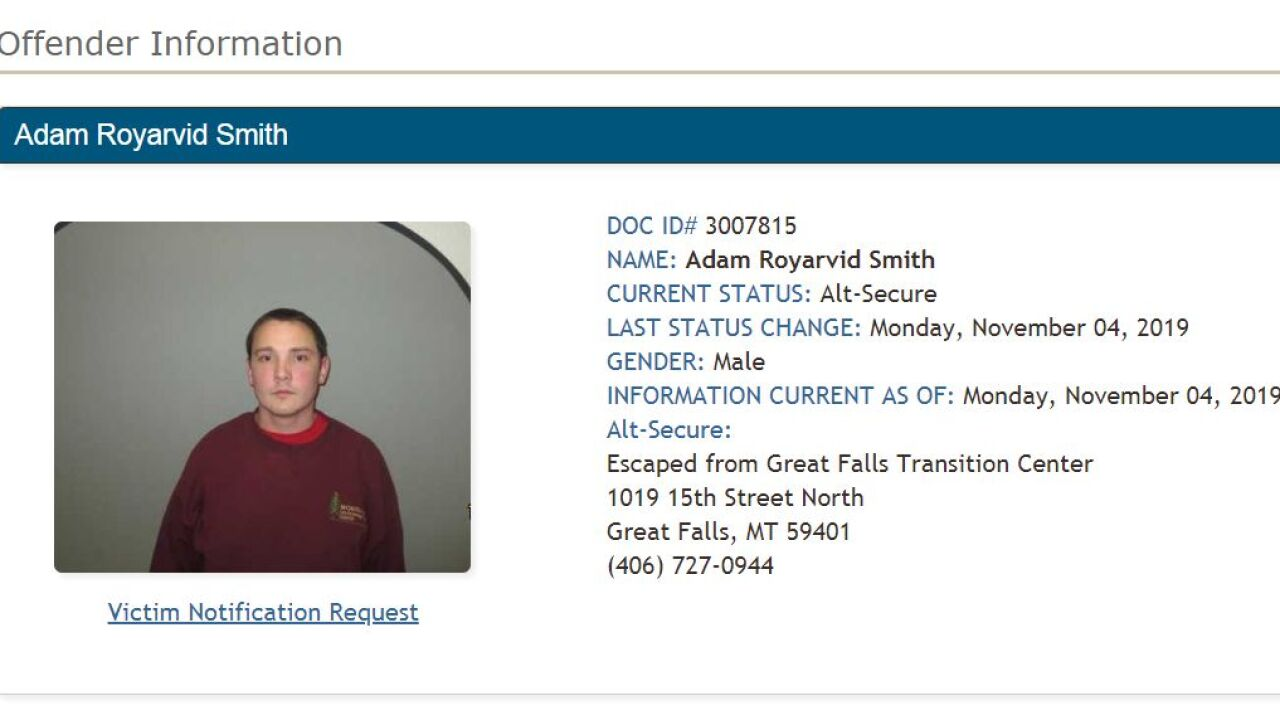 Smith reported as walkaway/escapee from Great Falls Pre-Release Center