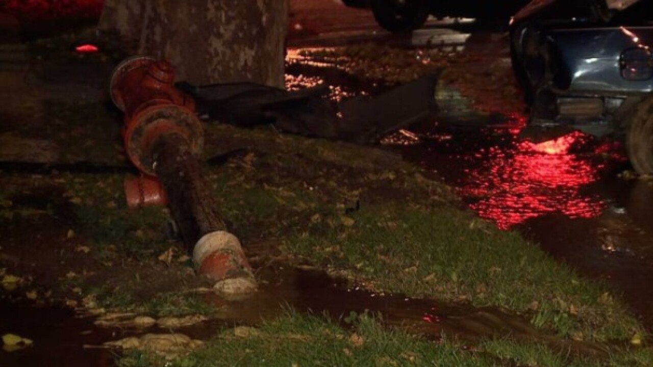 Woman in critical after crash with fire hydrant