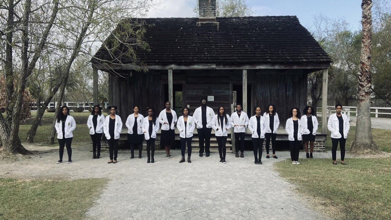 A group of black medical students posed at a plantation to show how the past inspired their future