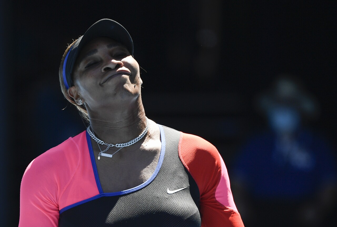 Serena Williams reacts to call during Australian Open, February 2021