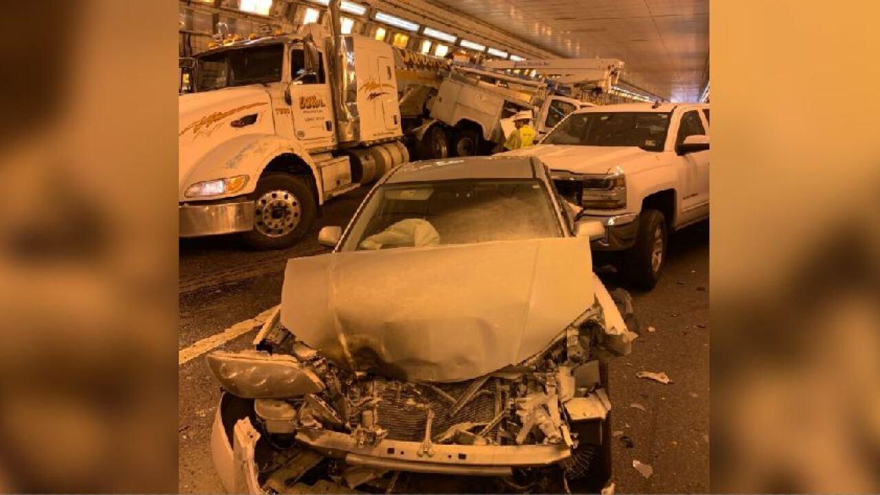 7 vehicles crash inside Hampton Roads BridgeTunnel