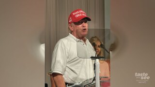 President Trump surprises the crowd at Wine, Women, and Shoes, a fundraiser for Big Dog Ranch Rescue at Mar-a-Lago.