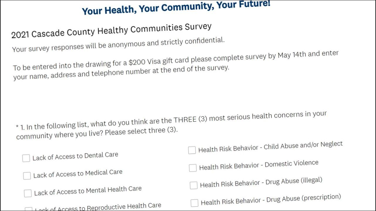 Community health survey available for Cascade County residents