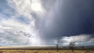 Storm cell east of Colorado Springs