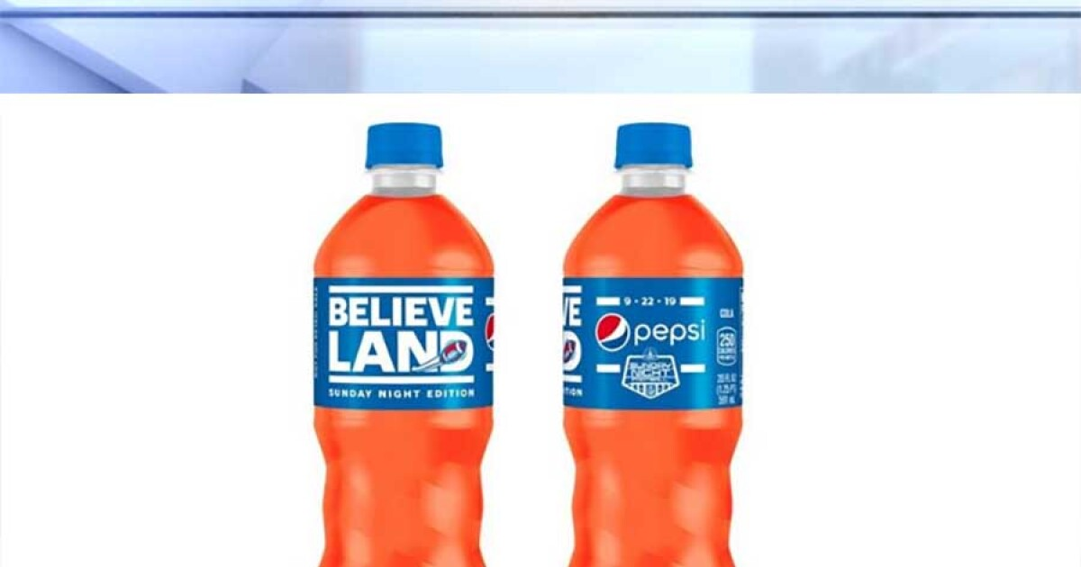 Orange-colored 'Believeland' Pepsi lands in Cleveland to honor Browns' Sunday Night Football Return