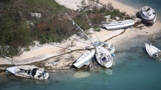 Boats are seen washed ashore from Hurricane Irma after it passed through the area on September 13, 2017 in Key West Florida. The Florida Key's took the brunt of the hurricane as it passed over the island chain as a category 4 storm.
