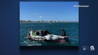 5 men in a makeshift raft were rescued off the coast of Lake Worth Beach on Feb. 20, 2021.jpg