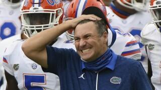 Florida Gators head coach Dan Mullen reacts on sideline in 2020