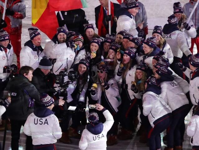 Team USA celebrates at the Closing Ceremony