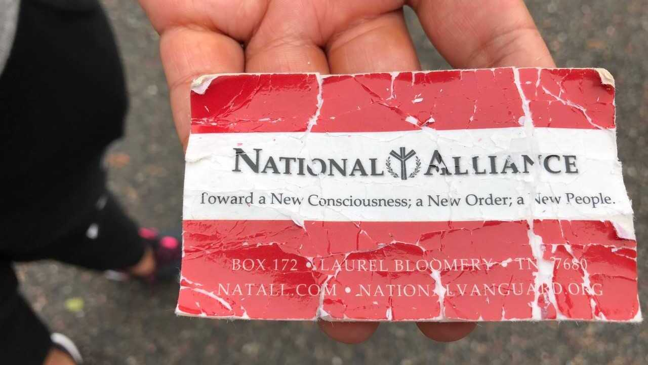 White nationalist business cards thrown at Chesapeake woman