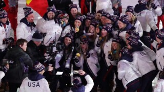 Team USA celebrates at the Closing Ceremony