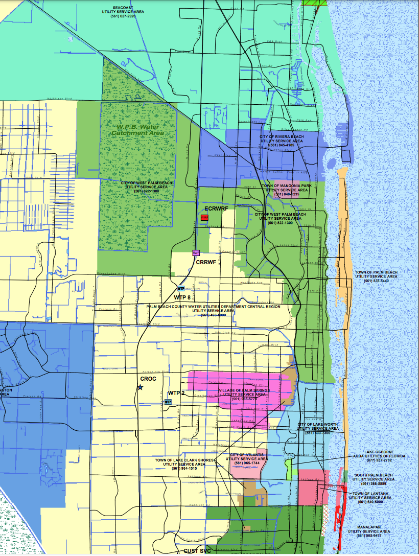 Palm Beach County drinking water map, green and orange areas bad water serviced by West Palm Beach