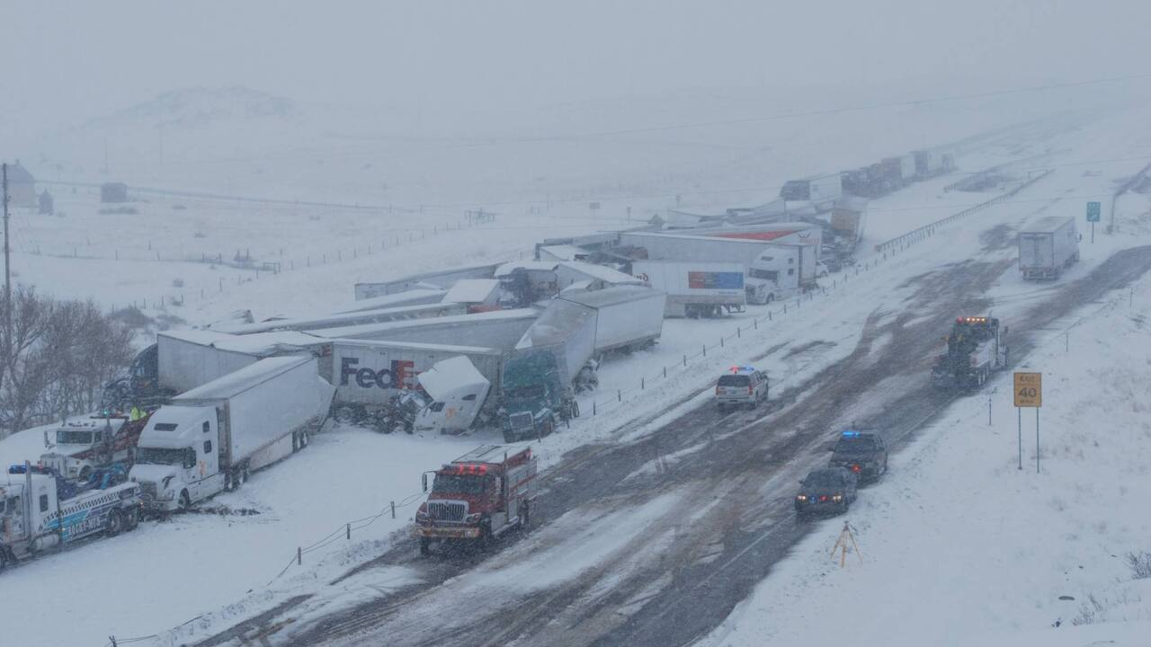 Video shows devastation from massive pileup on I-80 in Wyoming that injured 27 people