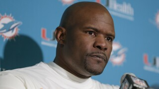 Miami Dolphins head coach Brian Flores at New York Jets postgame news conference, December 2019