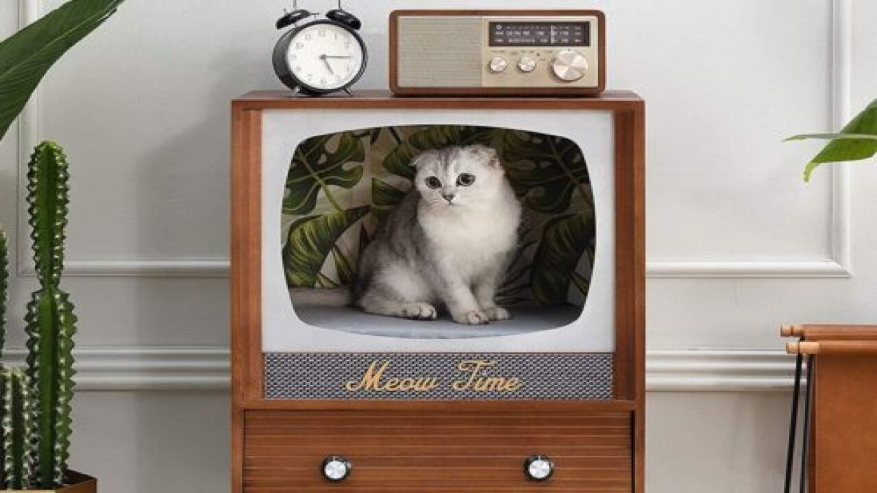 People Are Upcycling Vintage TV Sets Into Cozy Cat Beds