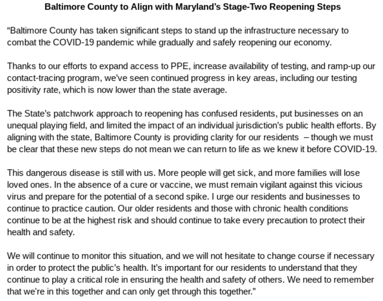 Baltimore County Stage 2