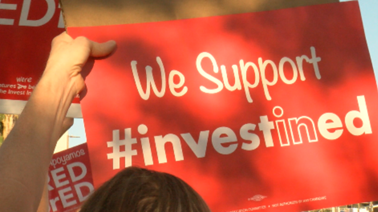Protesters gather downtown for in support of Invest In Ed