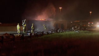 Thousands of rolls of toilet paper burn after semi crashes in Texas
