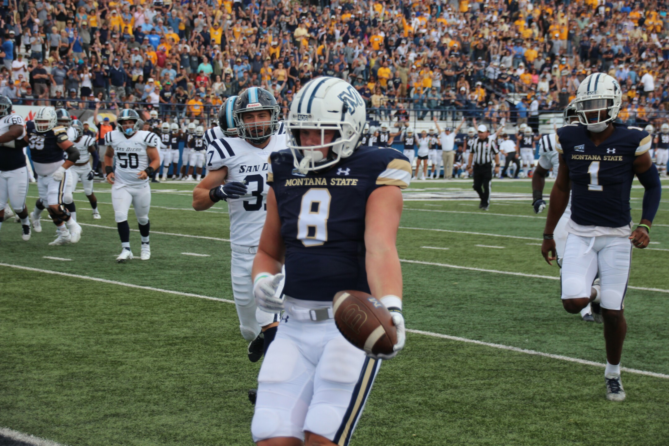 Tight End Derryk Snell celebrates a touchdown grab