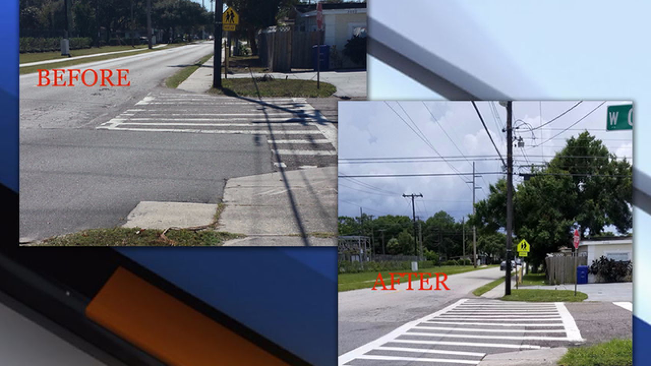 Sidewalk stompers get crosswalk fixed by school