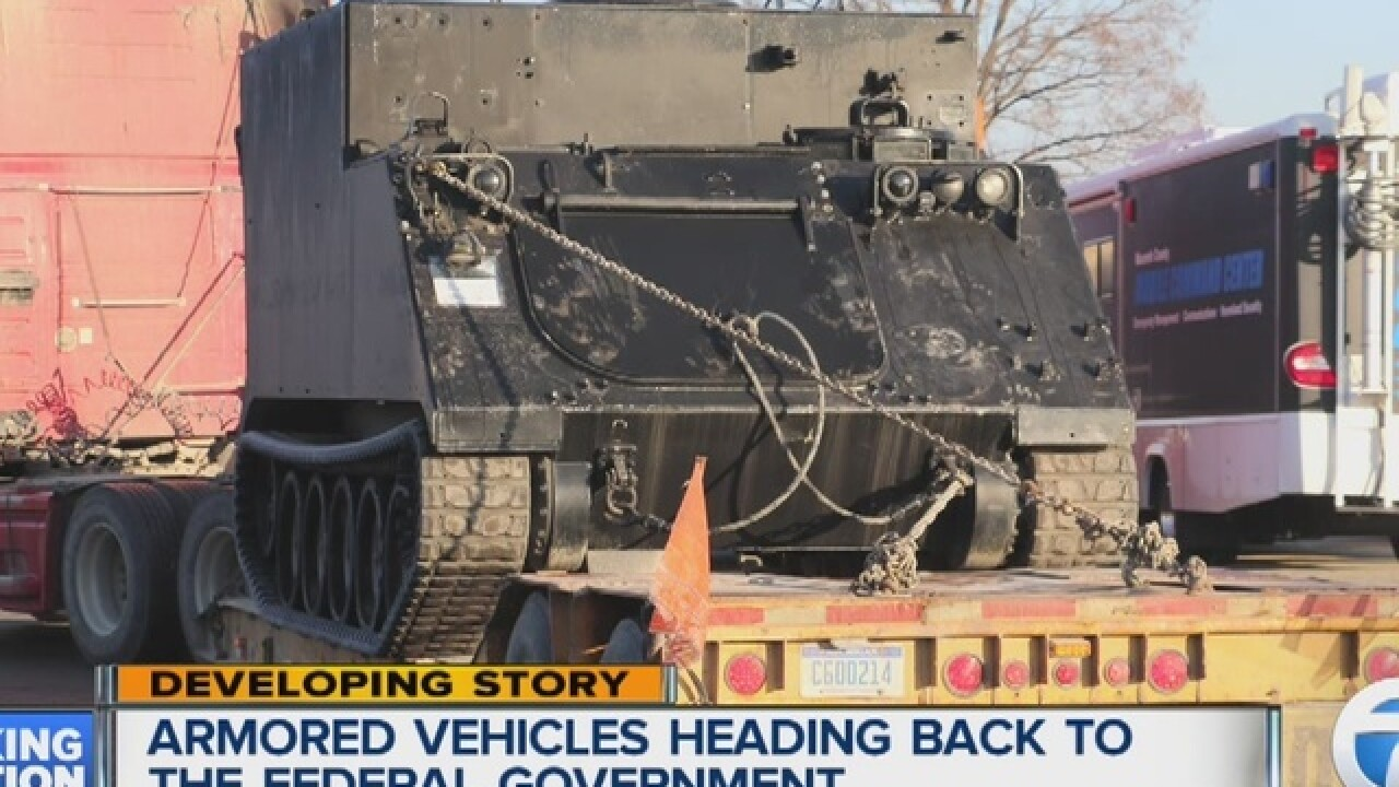 Local police agencies losing armored vehicles
