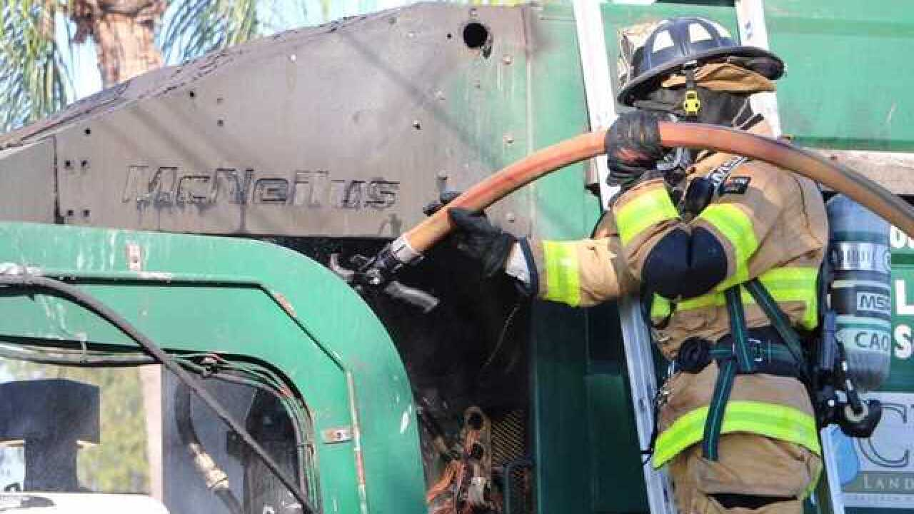 Dumpster truck damaged by fire in Cape Coral