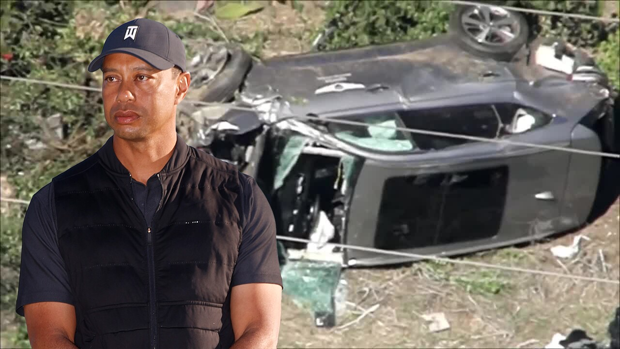Tiger Woods superimposed over 2021 California wreckage