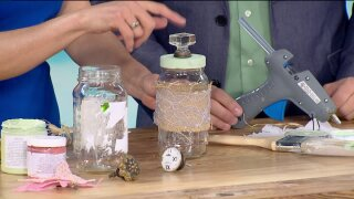 Dazzle your storage jars with items laying around thehouse