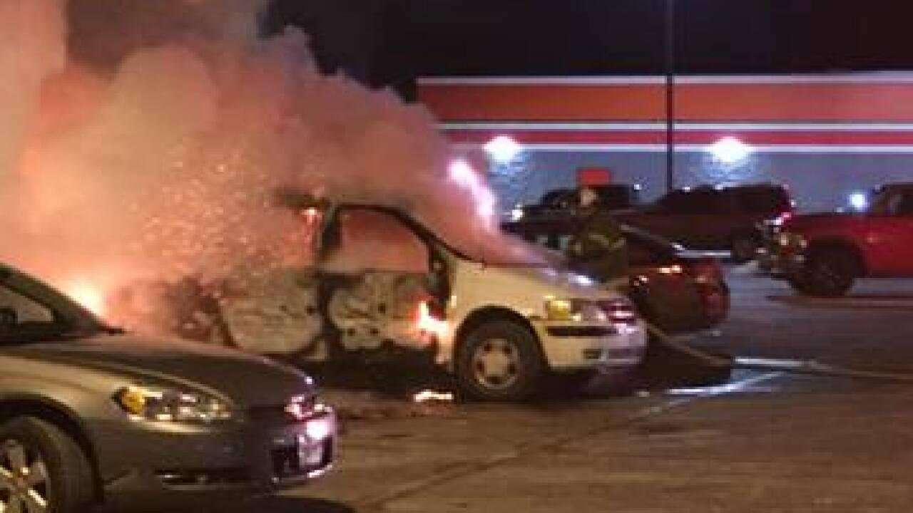 VIDEO: Car catches fire in Aldi parking lot