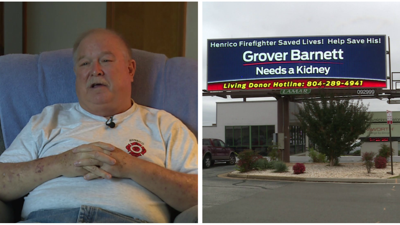 Billboard ad space donated to retired Henrico firefighter in need ofkidney