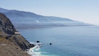 Thin coastal smoke layer